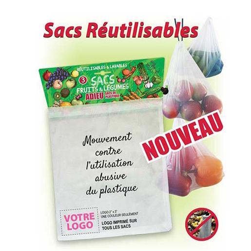 Publicité par l'objet - Sac à légumes et fruits réutilisable